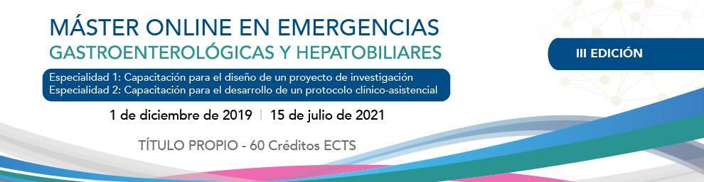 III MÁSTER ONLINE EN EMERGENCIAS Gastroenterológicas y Hepatobiliares